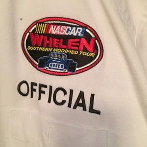 NASCAR white button down official shirt Sz M